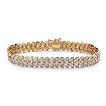 Diamond Accent Marquise-Shaped Leaf Motif Bracelet in 18k Yellow Gold-Plated