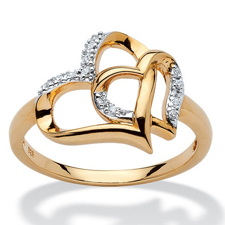 Diamond Accent Interlocking Heart Ring in 18k Yellow Gold over Sterling Silver at PalmBeach Jewelry