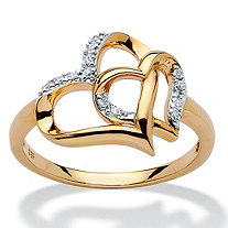 Diamond Accent Interlocking Heart Ring in 18k Yellow Gold over Sterling Silver