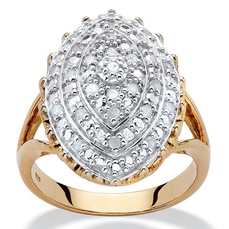 1/4 TCW Marquise-Shaped Two-Tone Diamond Ring in 18k Yellow Gold over Sterling Silver at PalmBeach Jewelry