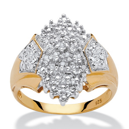 1/10 TCW Diamond Accent Cluster Ring in 18k Yellow Gold over Sterling Silver at PalmBeach Jewelry