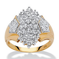 1/10 TCW Diamond Accent Cluster Ring in 18k Yellow Gold over Sterling Silver