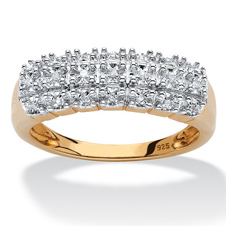 Diamond Accent Cluster Ring in 18k Yellow Gold over Sterling Silver at PalmBeach Jewelry