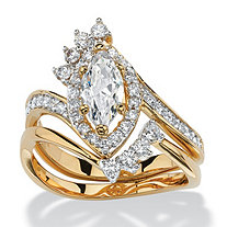 SETA JEWELRY 1.68 TCW Marquise-Cut Cubic Zirconia Two-Piece Halo Bridal Set 14k Yellow Gold-Plated