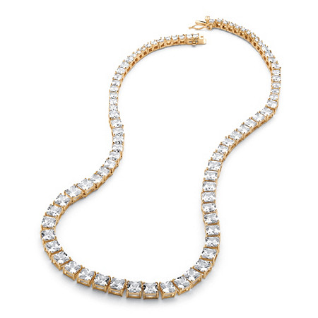 44.13 TCW Princess-Cut Graduated Cubic Zirconia Tennis Necklace 14k Yellow Gold-Plated at PalmBeach Jewelry