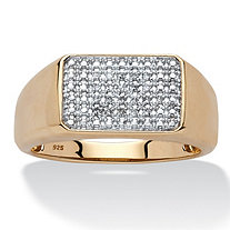 Men's 1/10 TCW Diamond Square-Back Band in 18k Yellow Gold over Sterling Silver