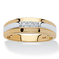 Men's Diamond Accent Two-Tone Band in 18k Yellow Gold over Sterling Silver