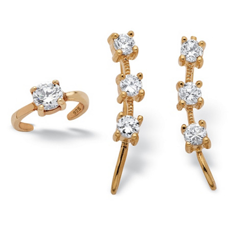 .85 TCW Round Cubic Zirconia Ear Pin and Cuff Set in 18k Yellow Gold over Sterling Silver at PalmBeach Jewelry