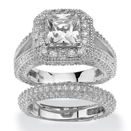 5.08 TCW Princess-Cut Cubic Zirconia Two-Piece Halo Bridal Set in Platinum over Sterling Silver at PalmBeach Jewelry