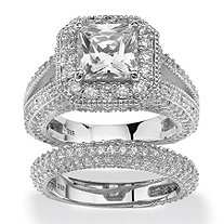 508 tcw princess cut cubic zirconia two piece halo bridal set in platinum over - Cubic Zirconia Wedding Rings