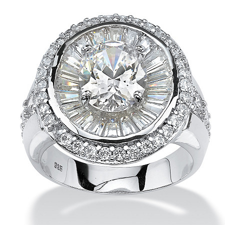 5.67 TCW Oval-Cut and Baguette Cubic Zirconia Double Halo Ring in Platinum over Sterling Silver at PalmBeach Jewelry