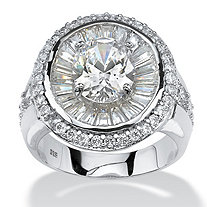 5.67 TCW Oval-Cut and Baguette Cubic Zirconia Double Halo Ring in Platinum over Sterling Silver