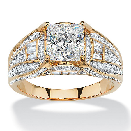2.38 TCW Cushion-Cut Cubic Zirconia Engagement Ring Yellow Gold-Plated at PalmBeach Jewelry