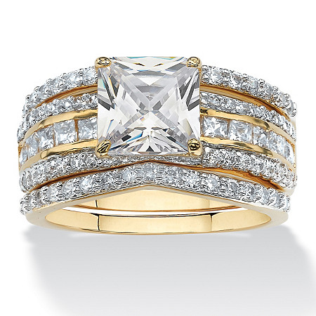 3.14 TCW Square-Cut Cubic Zirconia 3-Piece Bridal Set 14k Yellow Gold-Plated at PalmBeach Jewelry