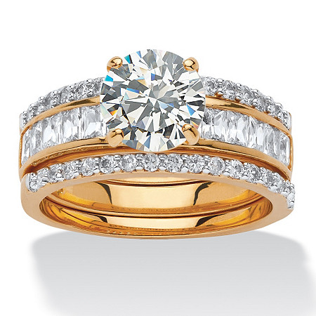 3.92 TCW Round Cubic Zirconia Three-Piece Bridal Set in 14k Yellow Gold-Plated at PalmBeach Jewelry