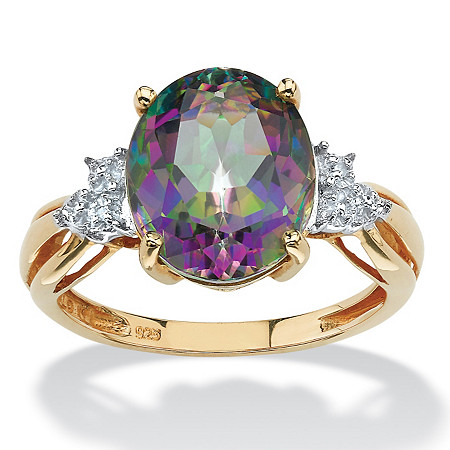 6 TCW Genuine Oval-Cut Fire Topaz Ring in 18k Yellow Gold over Sterling Silver at PalmBeach Jewelry