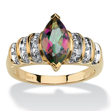 2 TCW Genuine Marquise-Cut Fire Topaz Step-Top Ring in 18k Yellow Gold over Sterling Silver at PalmBeach Jewelry