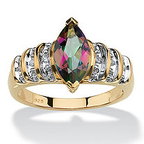 2 TCW Genuine Marquise-Cut Fire Topaz Step-Top Ring in 18k Yellow Gold over Sterling Silver