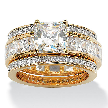 9.35 TCW Princess-Cut Cubic Zirconia Three-Piece Bridal Set in 14k Yellow Gold-Plated at PalmBeach Jewelry