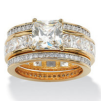 9.35 TCW Princess-Cut Cubic Zirconia Three-Piece Bridal Set in 14k Yellow Gold-Plated