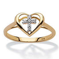 Diamond Accent Floating Cross Heart Ring in 18k Yellow Gold over Sterling Silver