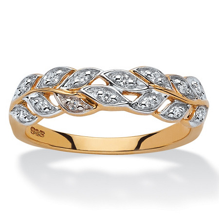 1/10 TCW Round Diamond Marquise Leaf Ring in 18k Yellow Gold over Sterling Silver at PalmBeach Jewelry