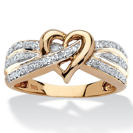 1/10 TCW Round Diamond Crossover Heart Ring in 18k Yellow Gold over Sterling Silver at PalmBeach Jewelry