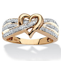 SETA JEWELRY 1/10 TCW Round Diamond Crossover Heart Ring in 18k Yellow Gold over Sterling Silver
