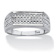 SETA JEWELRY Men's 1/4 TCW Channel-Set Diamond Triple-Row Band in Platinum over Sterling Silver