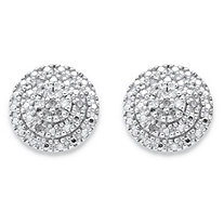 1/10 TCW Round Diamond Cluster Stud Earrings in 18k Yellow Gold over Sterling Silver