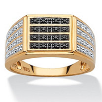 1/6 TCW Men's Black and White Diamond Multi-Row Ring in 18k Yellow Gold over Sterling Silver