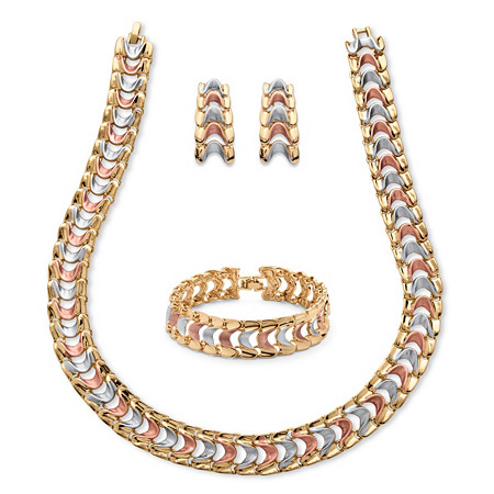 Tri-Tone Rose, Gold and Grey Ion-Plated Interlocking Snake-Link Three-Piece Jewelry Set at PalmBeach Jewelry