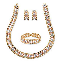 Tri-Tone Rose, Gold and Grey Ion-Plated Interlocking Snake-Link Three-Piece Jewelry Set