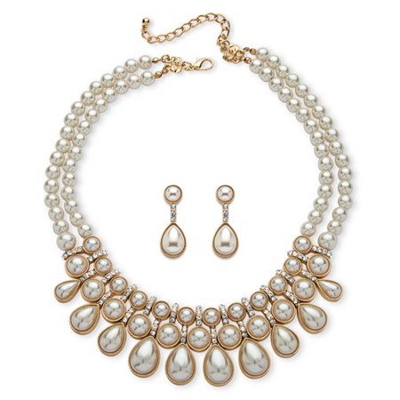 Round and Pear-Cut Simulated Pearl Cabochon 2-Piece Necklace and Earrings Set in Gold Tone at PalmBeach Jewelry