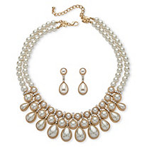 Round and Pear-Cut Simulated Pearl Cabochon 2-Piece Necklace and Earrings Set in Gold Tone