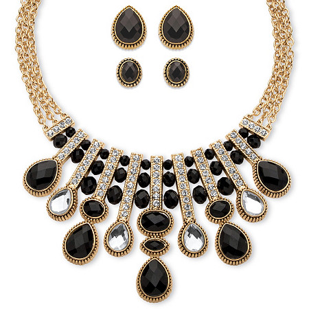 Pear and Oval-Cut Black and White Crystal Three-Piece Halo Necklace and Earrings Set in Gold Tone at PalmBeach Jewelry