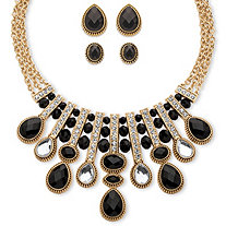 Pear and Oval-Cut Black and White Crystal Three-Piece Halo Necklace and Earrings Set in Gold Tone