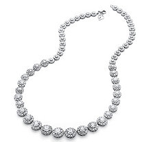 SETA JEWELRY 15.63 TCW Round Cubic Zirconia Graduated Halo Necklace in Platinum over Sterling Silver