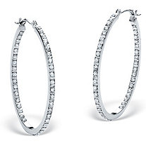 SETA JEWELRY Diamond Fascination Bernish-Set Inside-Out Hoop Earrings in Platinum over .925 Sterling Silver  (1 1/4