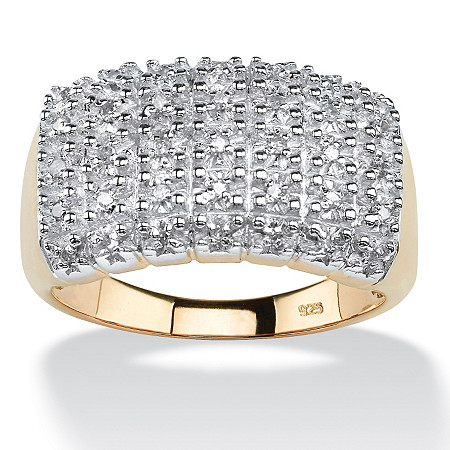 1/7 TCW Diamond Cluster Square-Back Ring in 18k Yellow Gold over Sterling Silver at PalmBeach Jewelry