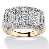 1/7 TCW Diamond Cluster Square-Back Ring in 18k Yellow Gold over Sterling Silver