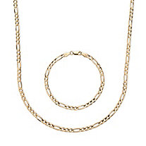 SETA JEWELRY Men's Figaro-Link 2-Piece Chain Necklace and Bracelet Set in 14k Gold over Sterling Silver 20