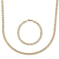 Men's Mariner-Link 2-Piece Chain and Bracelet Set in 14k Yellow Gold over Sterling Silver 20