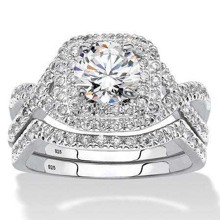 2.20 TCW Round Cubic Zirconia Two-Piece Double Halo Bridal Ring Set in Platinum over Sterling Silver at PalmBeach Jewelry