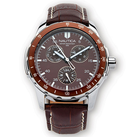 "Men's Nautica Water-Resistant Watch in Stainless Steel with 8"" Length Leather Band at PalmBeach Jewelry"