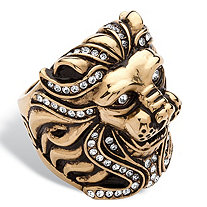 SETA JEWELRY Men's Pave Crystal Lion Ring MADE WITH SWAROVSKI ELEMENTS in Gold Ion-Plated Stainless Steel