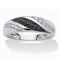 SETA JEWELRY Men's 1/5 TCW Round Black and White Diamond Ring in Platinum over .925 Sterling Silver