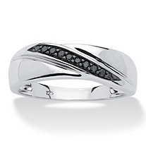 1/10 TCW Men's Round Black Diamond Diagonal Ring in Platinum over .925 Sterling Silver