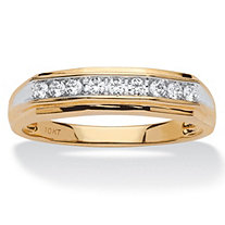 1/4 TCW Men's Round Channel-Set Diamond Band in Solid Two-Tone 10k Gold