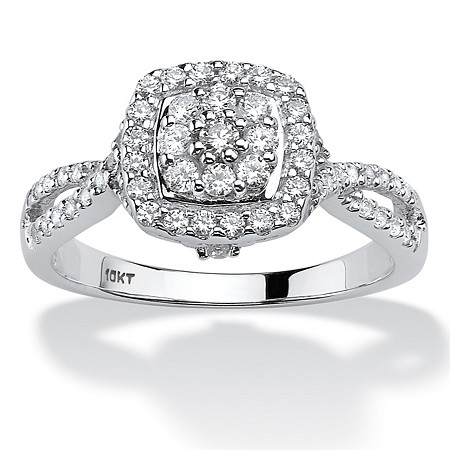 1/2 TCW Round Diamond Cluster Halo Engagement Ring in Solid 10k White Gold at PalmBeach Jewelry